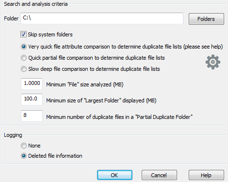 Duplicate file finder. Configuration to clean up a disk
