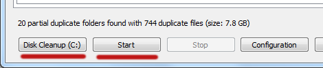 Duplicate file finder. Disk cleanup
