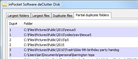 Duplicate file finder. deClutter disk tabs