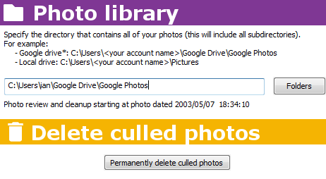 Picture manager - Photo Cull configuration