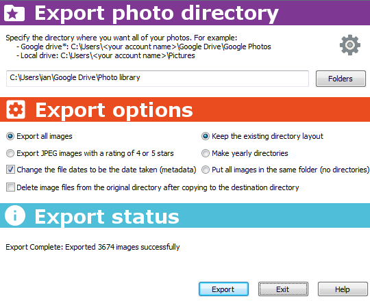 Picture manager. Export to cloud storage. A great photo backup.