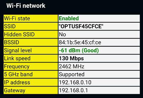 phone information wifi