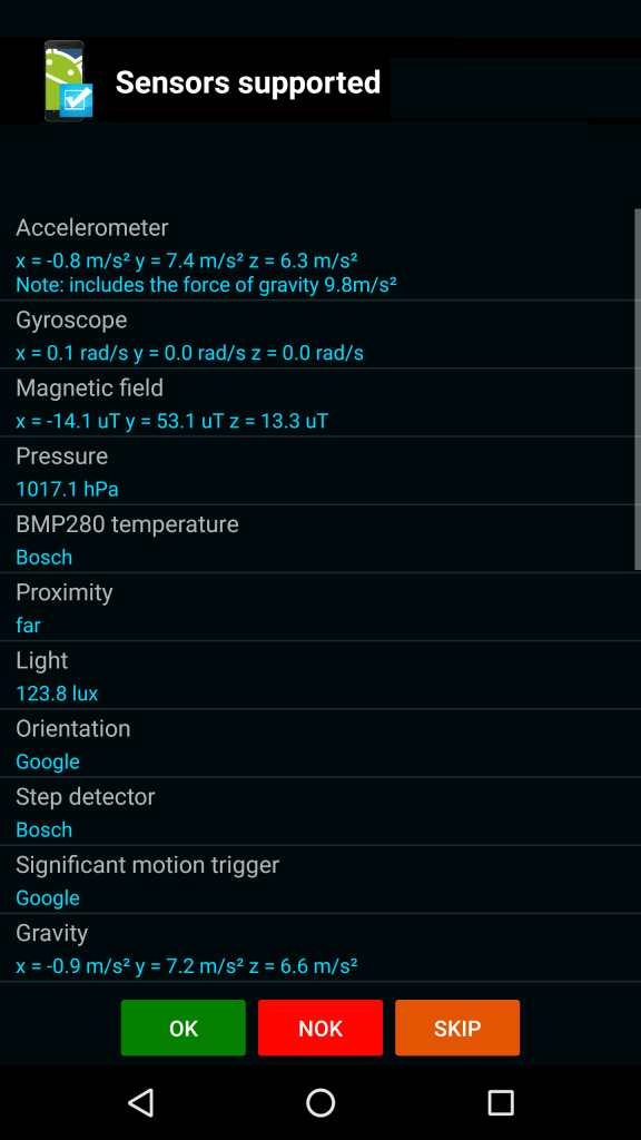 test phone sensors