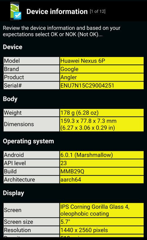 phone test information